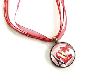 Red pumps and Eiffel Tower necklace pendant