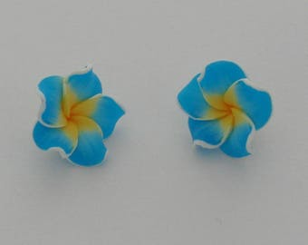 2 flowers polymer clay blue and yellow - Ref: PF 707