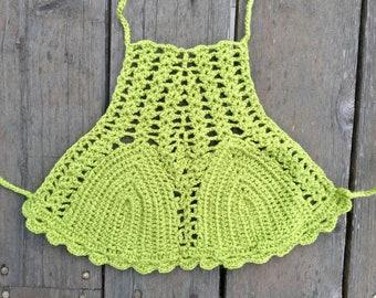 Lime Green Bright Crochet Bohemian Festival Top