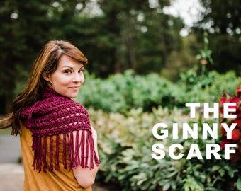Ginny Scarf Crochet Pattern / / Infinity Scarf / / Fringe Scarf / / Beginner / / Intermediate