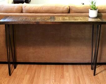 Wonderful Metal Inlayed Reclaimed Wood Sofa Table With Hairpin Legs, Sofa Table,  Reclaimed Wood Sofa