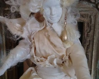 Mad Miss Havisham doll in Antique textiles