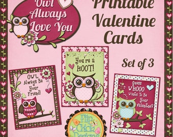 Owl Printable Valentine Cards