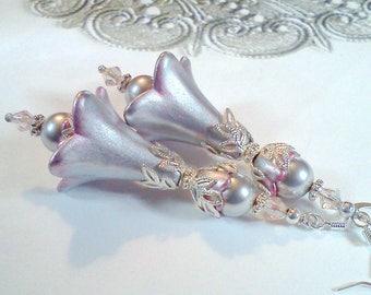 Hand Painted Earrings, Flower Earrings, Vintage Style Earrings, Lucite Earrings, Handmade Earrings, Silver Earrings,  Gift for Her, Boho