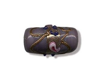 2 beads tube Indian lilac handmade glass 18 x 9 mm