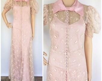 1930s True Vintage Pink Redingote Dress Set - Puff Sleeves