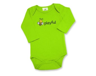 Gender Neutral Baby - Long Sleeve Bodysuit - 100% Organic Cotton - Front Screened BEE PLAYFUL - BEE Screened on Back - Baby Gift - 3M or 6M