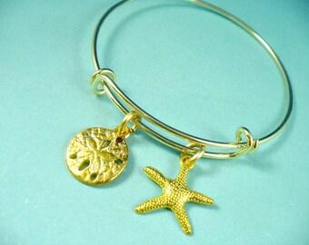 Gold Beach Bangle, Starfish Bangle, Sand Dollar And Starfish Bangle, Gold Bangle Bracelet, Sand Dollar Bangle, Adjustable Gold Bangle,