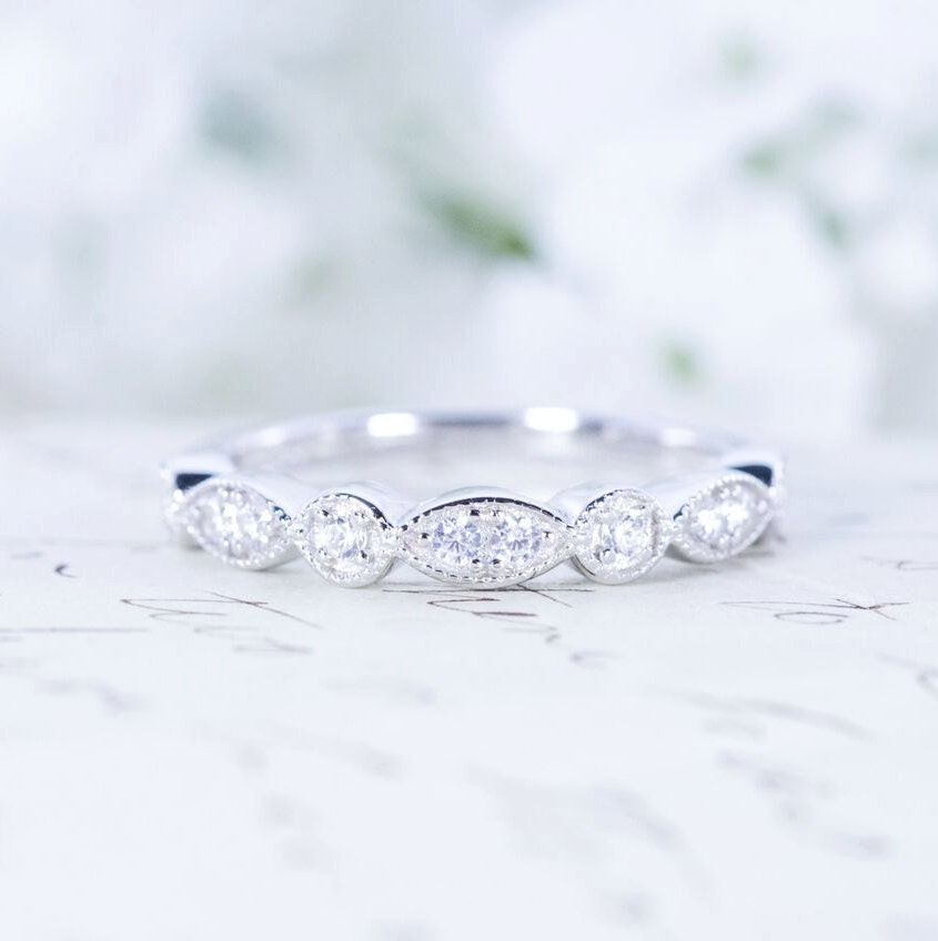 sterling rings cushion eternity bands bridal platinum solitaire cut double more set band with accent cz plated stackable silver views