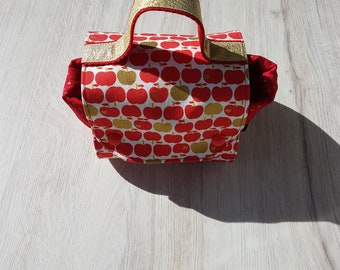 Purse bag pattern Red Apple and gold mug