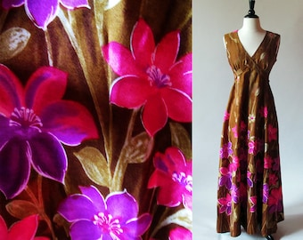 60s Maxi, Flower Print Long Cotton Dress