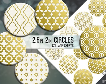 Metallic Moroccan 2.5 Inch and 2in Circle Download Printable Images for Gift Tags Cards Scrapbooking JPG