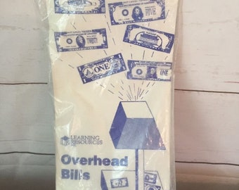 VINTAGE Transparencies Overhead Money Kit Bills Front And Back Sides Projector, Teaching Aid, Teacher Tools, Home school, Money Learning,