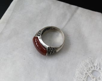 925 sterling silver ring, Carnelian and Marcasite 1950 French