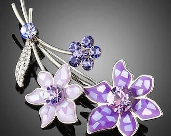 Artistic White Gold Violet Flower Brooch Pin