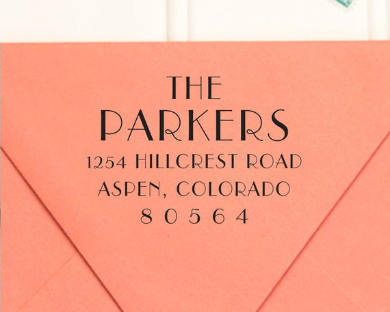 Return Address Stamp, Self-Inking Return Address Stamp, Art Deco ...