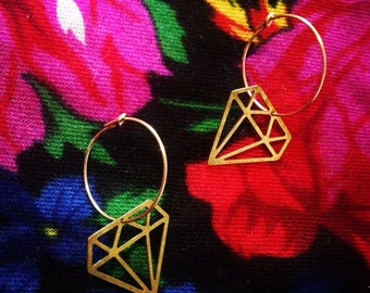 Hoop earrings (gold plated) diamond