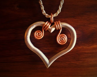 Solid Aluminum Heart with Copper Spiral Pendant on Sterling Silver Necklace - 18 Inches