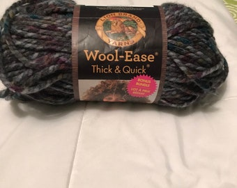 Lion brand Yarns-Wool-ease thick & Quick super bulky- abalone-new, mixed colors yarn,