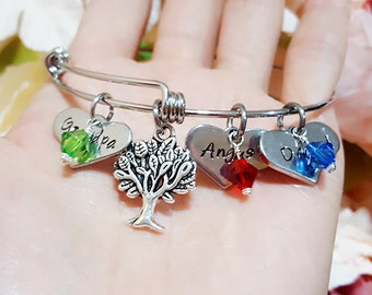 Personalized Tree of Life Bracelet, Birthstone Initials Names Bangle, Family Tree Bangle, Handmade Stainless Steel Adjustable Bangle