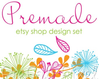 Hand Drawn Floral Cover Photo, Bird Etsy Banner, Floral Shop Banner, Colorful Shop Banner, Shop Design, Dandelion Banner, Cover Banner