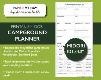 Midori Traveler's Notebook Camping Journal - Midori TN Inserts - Midori Printables