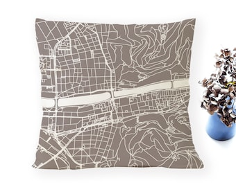 HEIDELBERG Map, Throw pillow for your home decor, Map of HEIDELBERG Cushion Cover, Custom Wedding Pillow Cover, anniversary gift