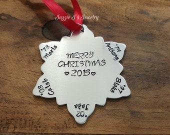 Hand Stamped Snowflake Christmas Ornament, Family Tree Ornament, Snowflake Ornament, Gift, Holiday Gift, Personalized Christmas Keepsake