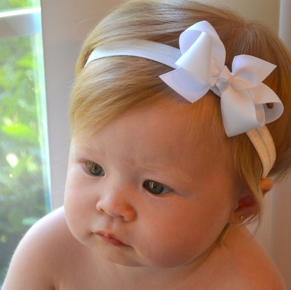 White Baby Bow Headband Christmas Baptism Wedding Baby