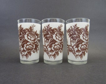 Vintage Brown Floral Frosted Juice Tumblers, Set of 3 (E9793)
