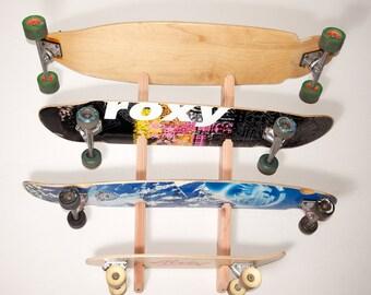 Skateboard Longboard Wall Rack Mount -- Holds 4 boards