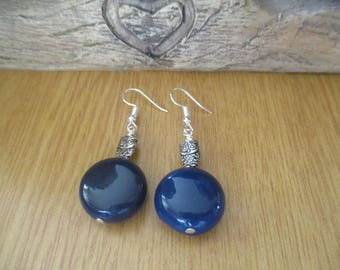 Blue Agate and Owl Drop Earrings