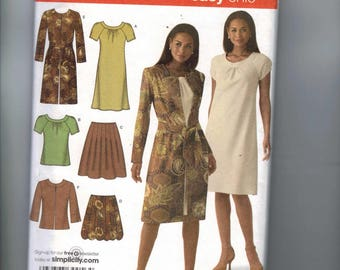 Misses Sewing Pattern Simplicity 4045 Misses and Petite Skirt in Two Lengths Bias Dress Top and Unlined Coat Jacket Size 6 8 10 12 14 UN  99