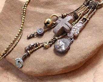 Rustic Earth Tribal Talisman Necklace + Wabi Sabi + Ancient Textures + Ceramic, Found Stone, Brass, Fine Silver + Forgotten Ceremony + OOAK