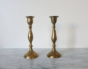 Vintage Brass Candlesticks, Boho Chic, Candle Lover Gift, Brass Wedding Candle, Wedding Candle, Candle Holder Lot, Brass Wedding Decor