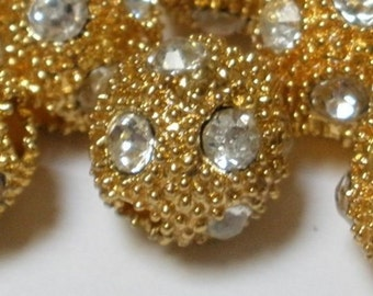 4 x 10mm Round Bumpy Gold Bead with Diamond Look Rhinestones Great Focal Feature Jewellery Making Supplies Jewelry Supply Crafting BE124