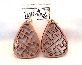 Wood Earrings ( Cherry Wood )