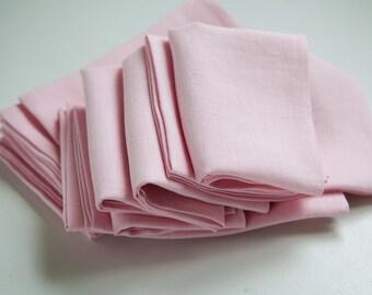 Linen napkins, blush pink napkins set of 8, pastel napkins, cloth napkins set, wedding napkins, custom size available