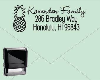 Self Inking Return Address Stamp * Custom Address Rubber Stamp (E421) Pineapple