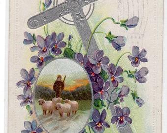 Easter Antique Post Card Silver Cross Sheep Shepherd Lambs Vintage Postcard
