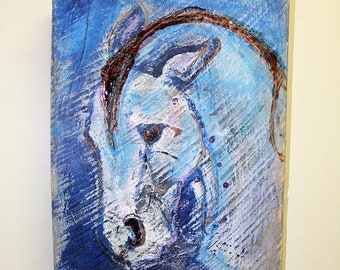 Painted horse on wood, rustic wood with painted horse, abstract horse art on reclaimed wood, horse on weathered barn wood, painted horse,