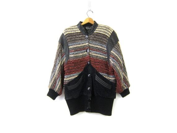 Vintage 80s Sweater Knit Coat Black Leather PARKA Coat Chenille Woven Coat Slouchy Suede Long Sweater Knit Jacket Winter Coat Womens Medium