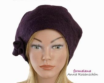 lilac Beanie wool hat cap bonnet