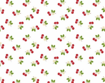 7.99 A Yard - One Day Sale - Lori Holt For Riley Blake Sew 2 Cherry White With Cherries - C5804