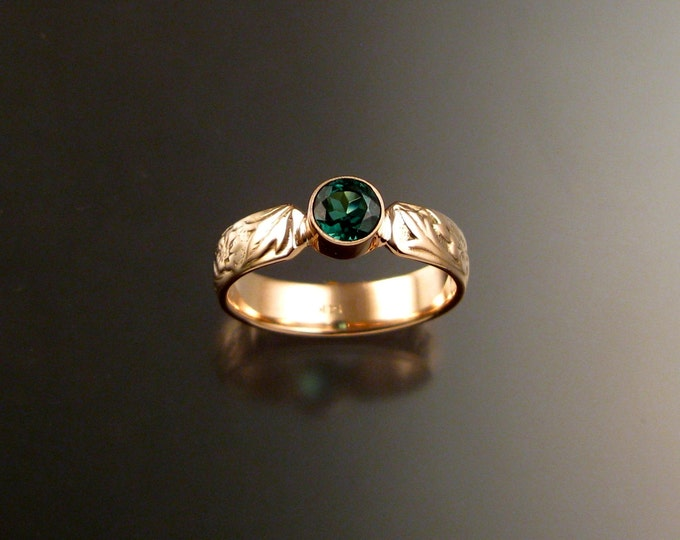 Green Tourmaline Victorian floral pattern Emerald substitute ring 14k rose gold with your choice of color made to order in your size