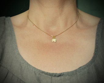 Gold Leaf Necklace, Petite Gold Necklace with Charms, Delicate Gold Jewelry, Gift for Her, Leaf Pendant, 16 Inch Gold Necklace, 18k Vermeil