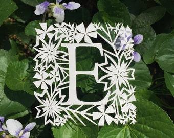Original Papercut Artwork | 2.5 inch Floral Monogram