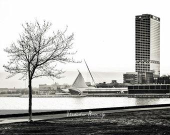 Photograph of Calatrava Milwaukee Art Museum and Milwaukee Skyline in Black & White - 8x10 photo