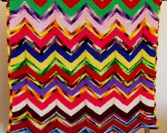 Vintage Hand Crocheted Woolen Blanket // Throw // Cover // Keep Warm // Bundle Up // Old Folks Gift