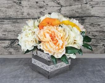 Rustic Home decor. Fall Autumn silk flower arrangement. Artificial flower Centerpiece. Holiday gift. Baby Shower, Table decor. Orange Beige